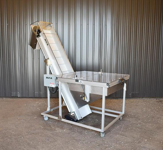 Used USED HFA 2260 SERIES ELEVATED CLEATED BELT CONVEYOR, 16'' WIDE X 84'' LONG