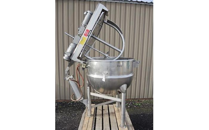 USED 150 GALLON JACKETED KETTLE, STAINLESS STEEL, WITH DUAL SCRAPE AGITATION