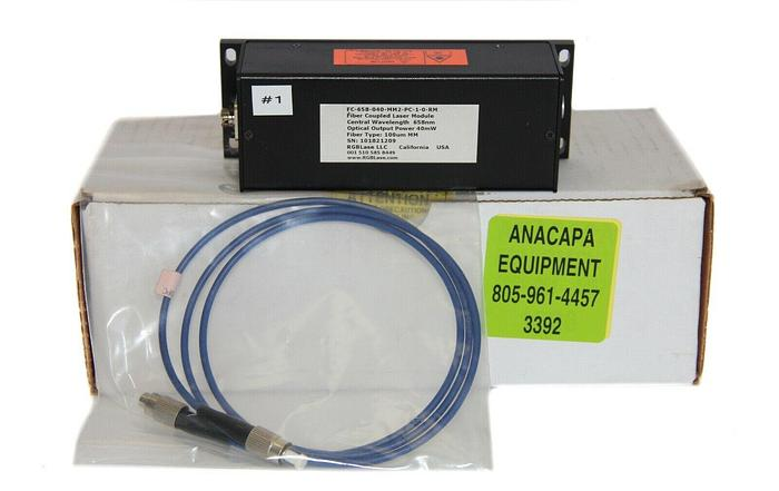 Used RGB Lase FC-658-040-MM2-PC-1-0-R-M Fiber Coupled Laser Module w/100um Cable(3392