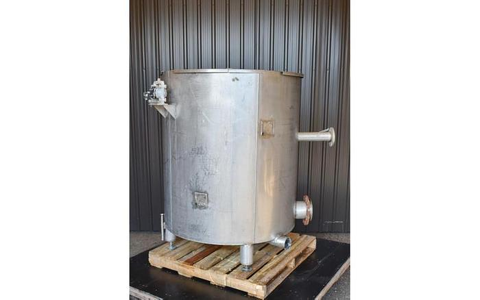 USED 400 GALLON TANK, STAINLESS STEEL, WITH DIAPHRAGM PUMP
