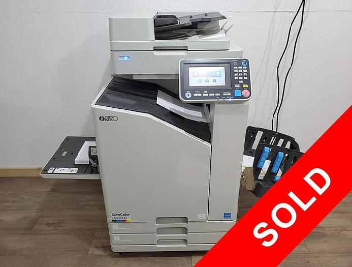 Used Riso ComColor FW5000 Full Color Inkjet Printer with Scanner and Auto Stacking Tray.