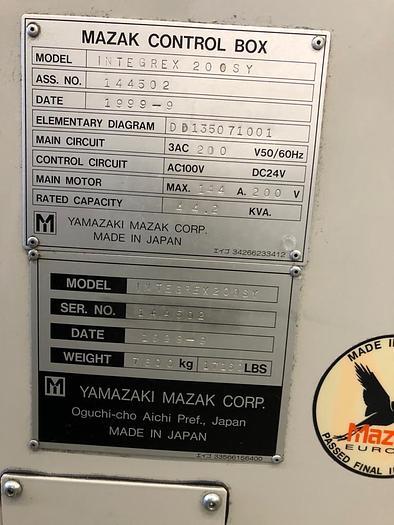 2000 MAZAK INTEGREX 200 SY