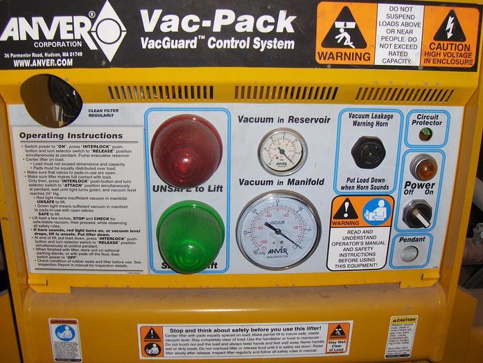 6,000 lb. Anver Vacuum Type Sheet Lifter
