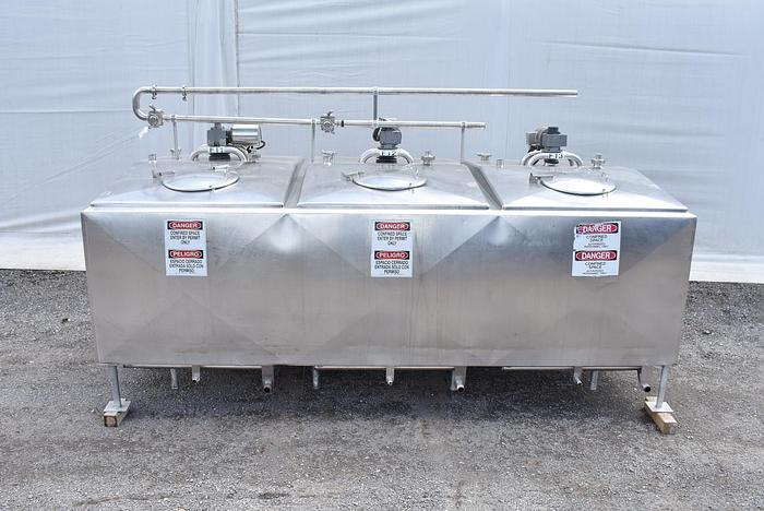 Used USED 2000 GALLON JACKETED TANK, STAINLESS STEEL, 3 COMPARTMENTS WITH MIXERS, FLAVOR TANK