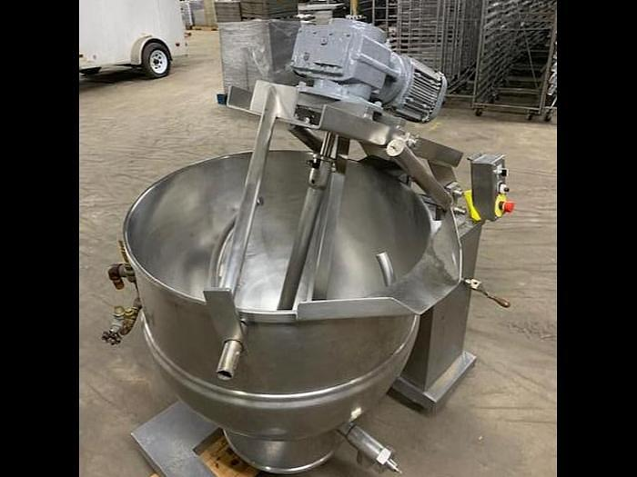 Used GROEN DEE 4T-60, 60 GAL. TILTING ELECTRIC STEAM KETTLE w/ COOKER/MIXER & SCRAPE SURFACE  #739