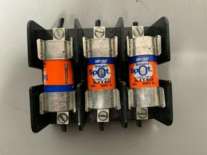 Used Ferraz Shawmut 60608J Fuse Block 600V 60A w/ 3 Amp Trap AJT50 50A 600V Fuses
