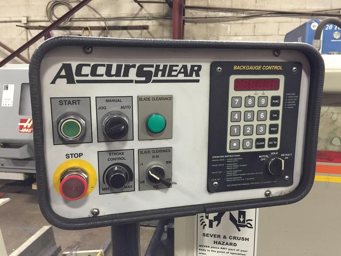 "1/4"" X 10', ACCURSHEAR, 625010, HYDRAULIC SHEAR"