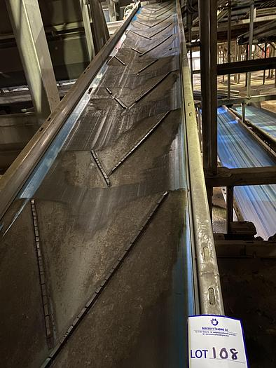 Used Stainless Steel Elevated Conveyor 9.5m L 0.7m W