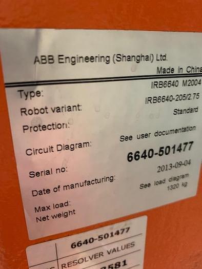 2013 ABB IRB 6640 205/2.75