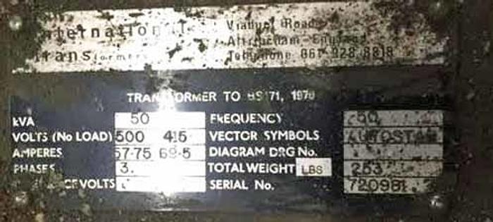 50 KVA Transformer, 3 Phase, 500/415, 50 Hz