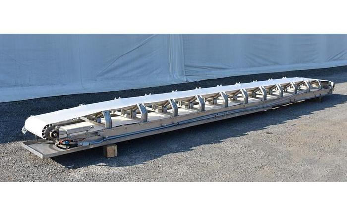 "USED BELT CONVEYOR, 20"" WIDE X 25' LONG, STAINLESS STEEL, SANITARY"
