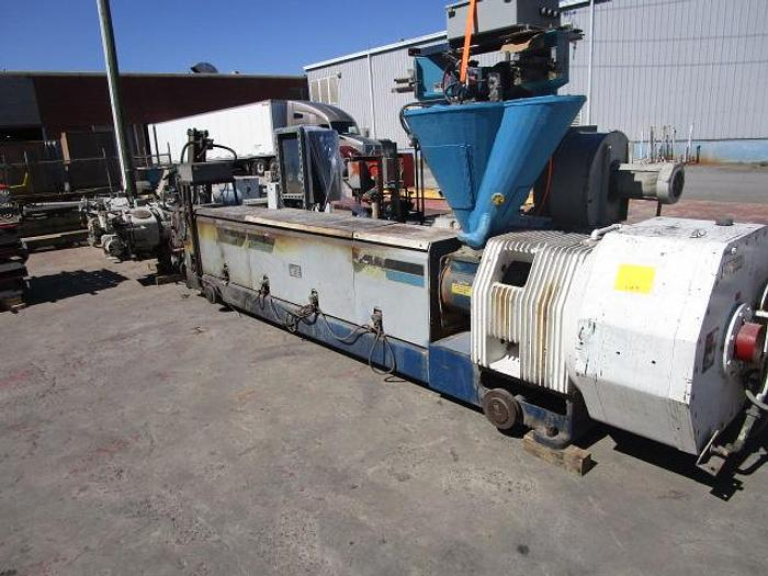 """Used 6"""" 30:1 L/D GEC contra cool extruder with hydraulic screen changer, 500HP DC stock # 4807-002"""