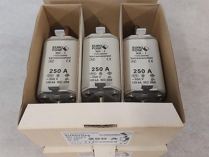 6 Stück NH Sicherungseinsätze Größe 1, 250A, NH-1, 500V, Eurofuse,  neuwertig