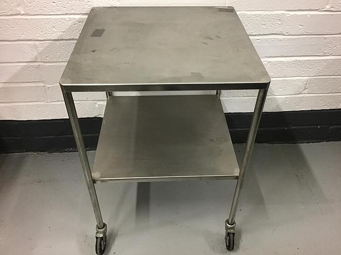 Used Trolley stainless steel 2 shelves 600x600mm