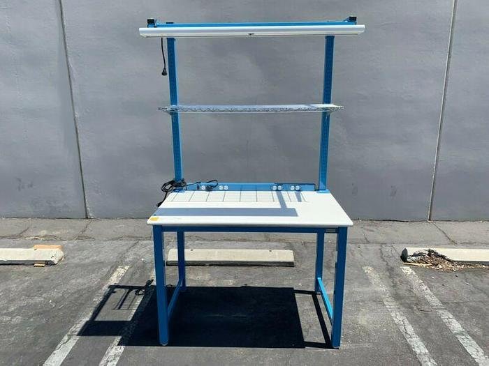 """Used Bench Depot 30"""" x 48"""" x 34"""" Workbenches w/ Single Rack Shelf and Overhead Light"""
